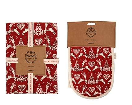 Quality Juego de paños de Cocina de Navidad con diseño navideño de Navidad, Color Rojo