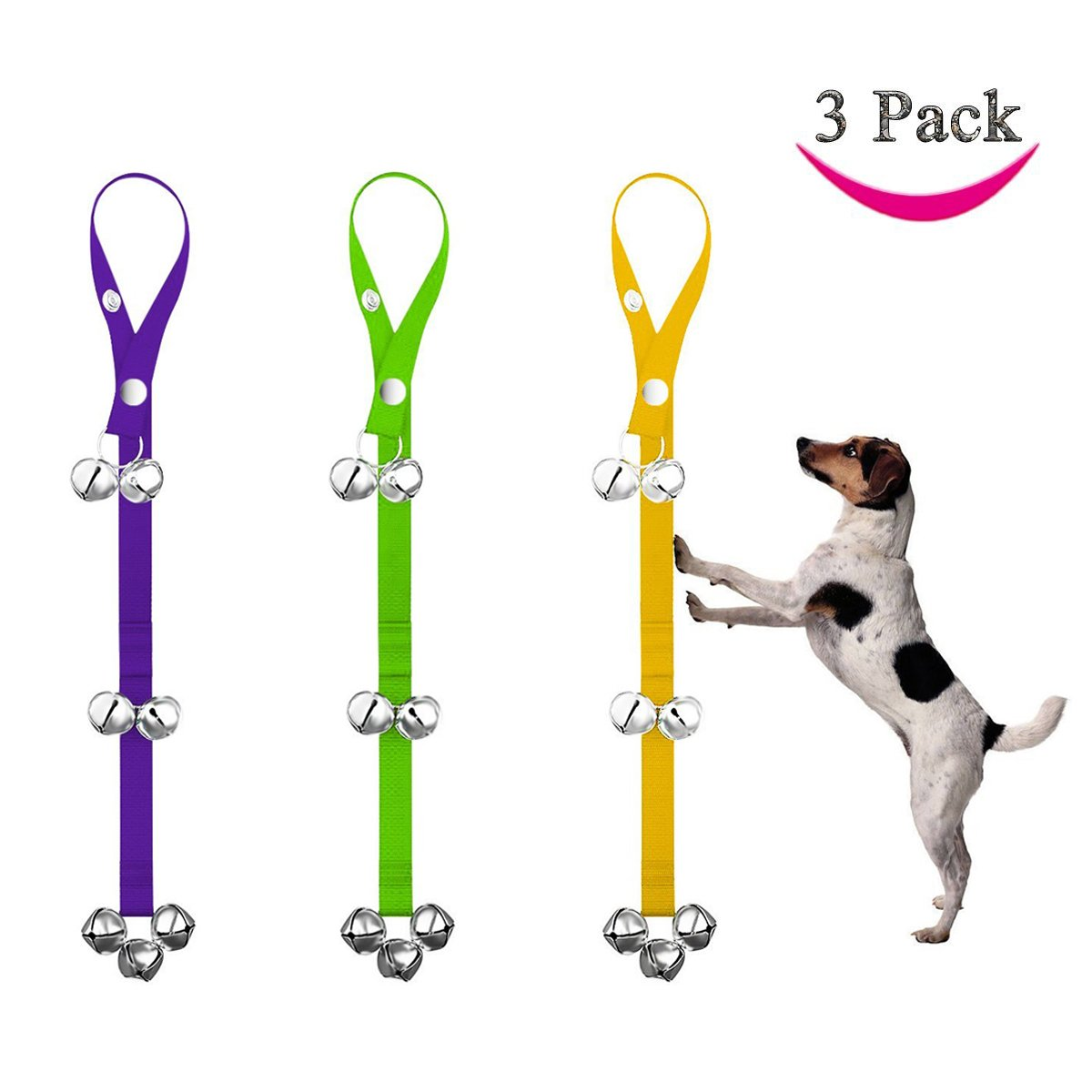 Shichique 3 PACK Potty Doorbells Housetraining Dog Doorbells Tinkle Bells for House Training, Dog Bell with 7 Bells 3 Color