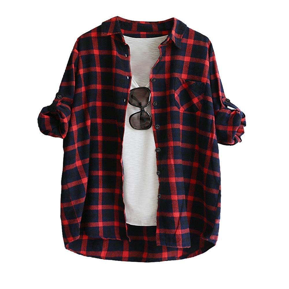 Beikoard Camisa De Manga Larga Cardigan Top,De Manga Larga De La Mujer Plaid con Botones Camiseta Blusa Tops: Amazon.es: Ropa y accesorios