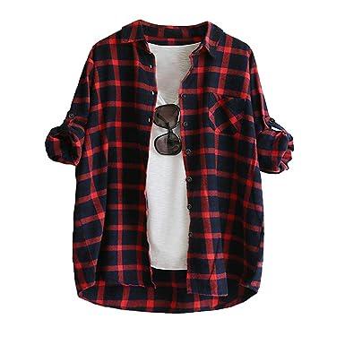 2018 Heligen Frauen Langarm Plaid mit Knöpfen T-Shirt Bluse Tops mit Pocket  Vorderer Kurzer und Langer Saum  Amazon.de  Bekleidung 8464eb81bb