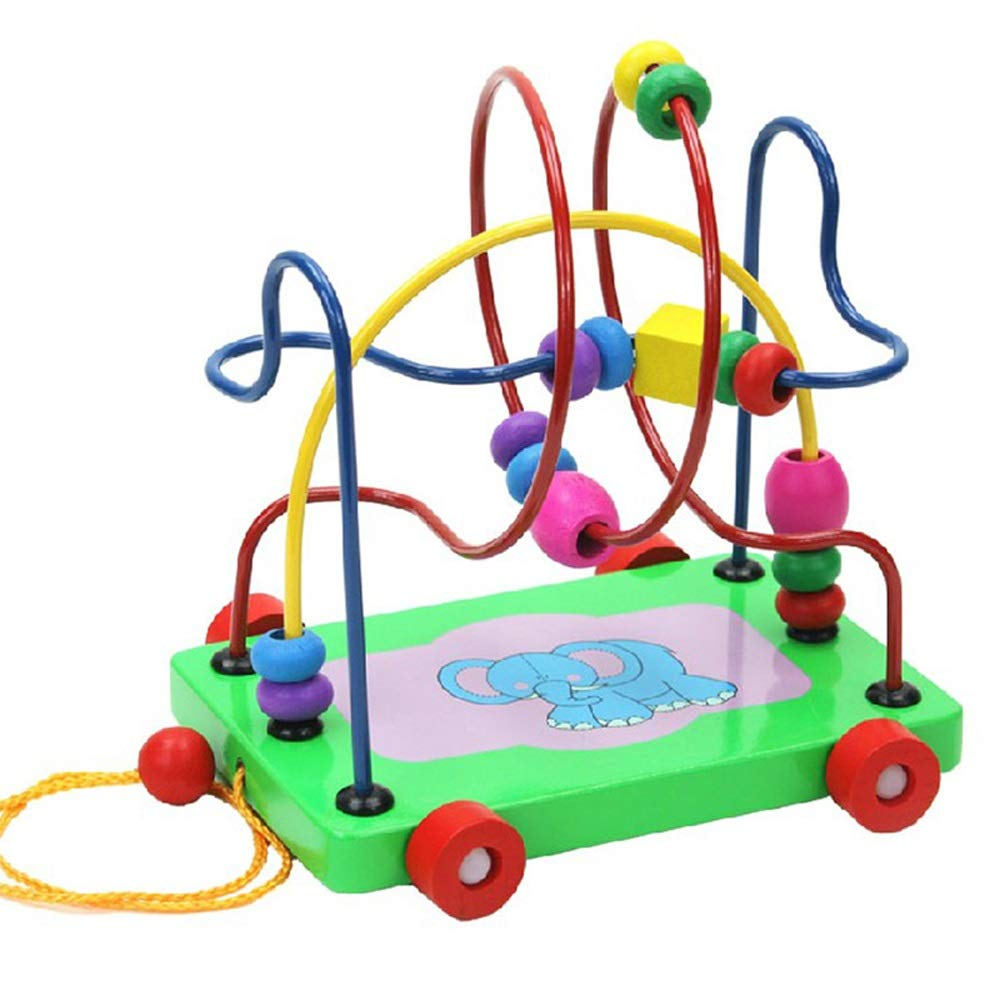 Markc Childrens Fun Dragging Toddler Trailer Creative Childrens Early Education Educational Toys Elephant Round Beads Enrich Childrens Brain Growth and Hand-Eye Coordination Ability