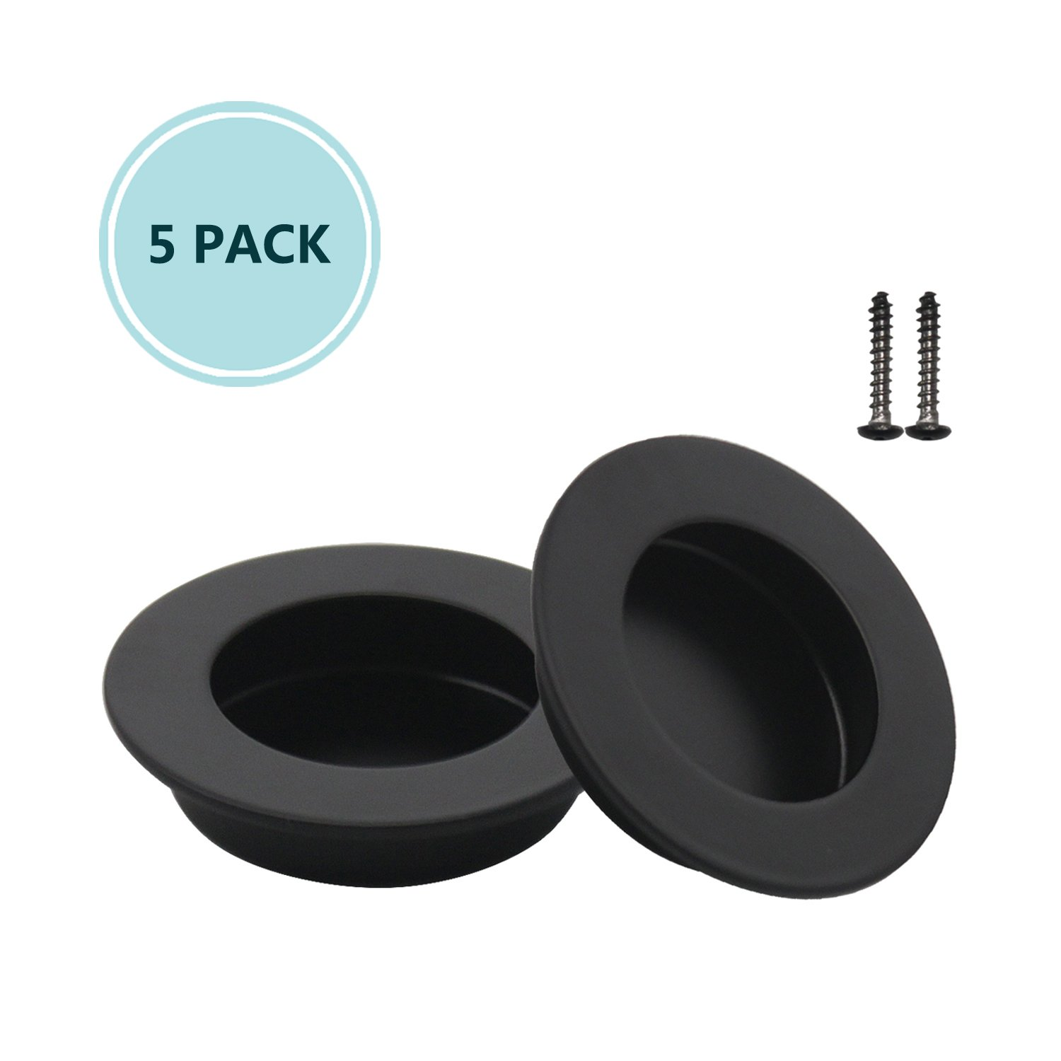 Black Interior & Closet Door Pulls Round 65mm/2-1/2'' Flushed Pulls Door Handles 304 Stainless Steel Finger Flushed Pulls Drawers Cabinet Recessed Knobs Hardware, 5 Pack