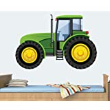 Green Tractor Mural Full Colour Wall Sticker - Children's Bedroom Nursery Decal Transfer - EXTRA LARGE - 100cm x 68cm - SELECT SIZE FROM MENU BELOW