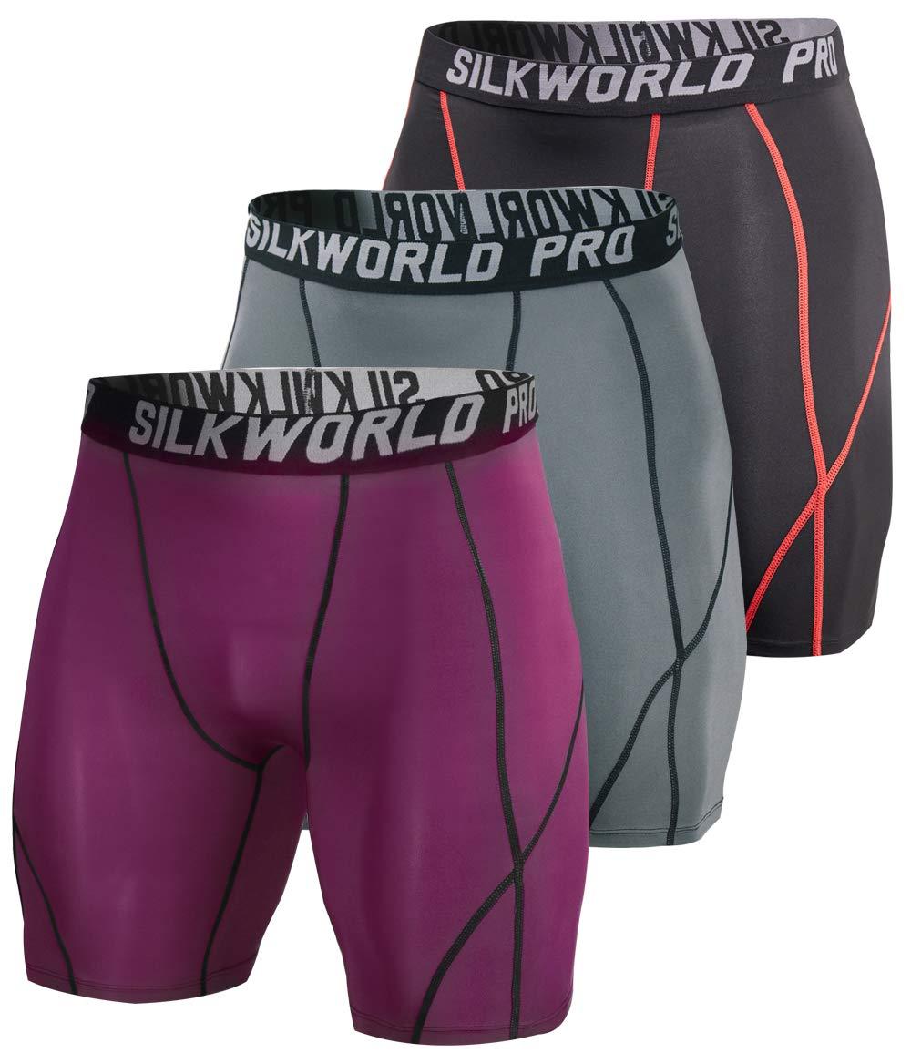 SILKWORLD Men's 3 Pack Running Tight Compression Shorts, Black(Red Stripe), Grey, Maroon, XL by SILKWORLD