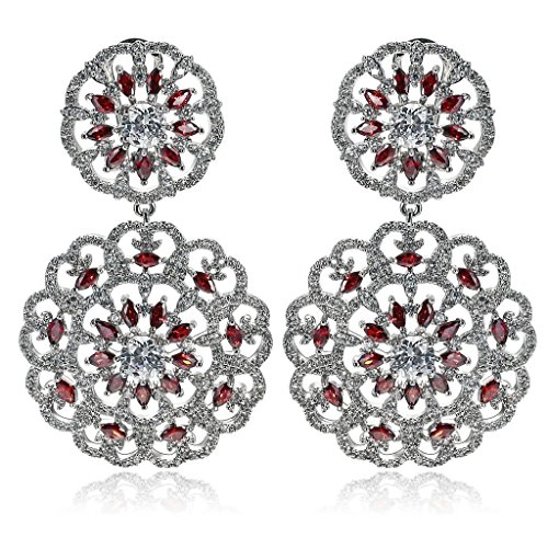 AmDxD Jewelry Silver Plated Stud Earrings for Women Hollow Flower Silver Red 33X55MM