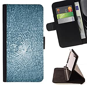 BETTY - FOR Sony Xperia Z1 Compact D5503 - Smashed Broken Glass - Style PU Leather Case Wallet Flip Stand Flap Closure Cover