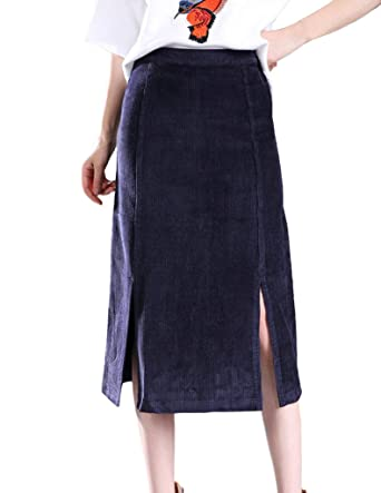 50256038a19e Zanlice Women's High Waist Cotton Corduroy Slits Front Pencil Skirt XS-1X -  Blue -