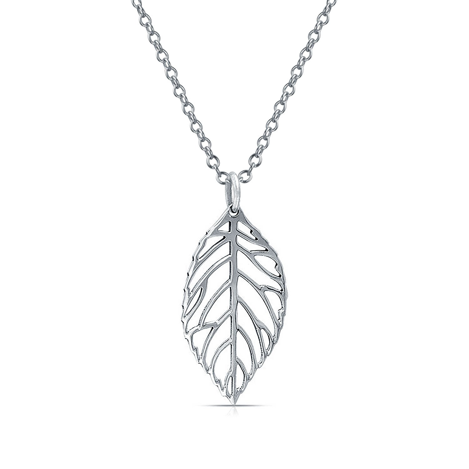 Bling Jewelry Leaf Filigree Pendant Sterling Silver Necklace 18 Inches PMR-P13410