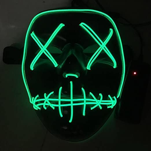 joyliveCY Máscara de Halloween con luz, Cable LED, máscara para Fiesta de Disfraces