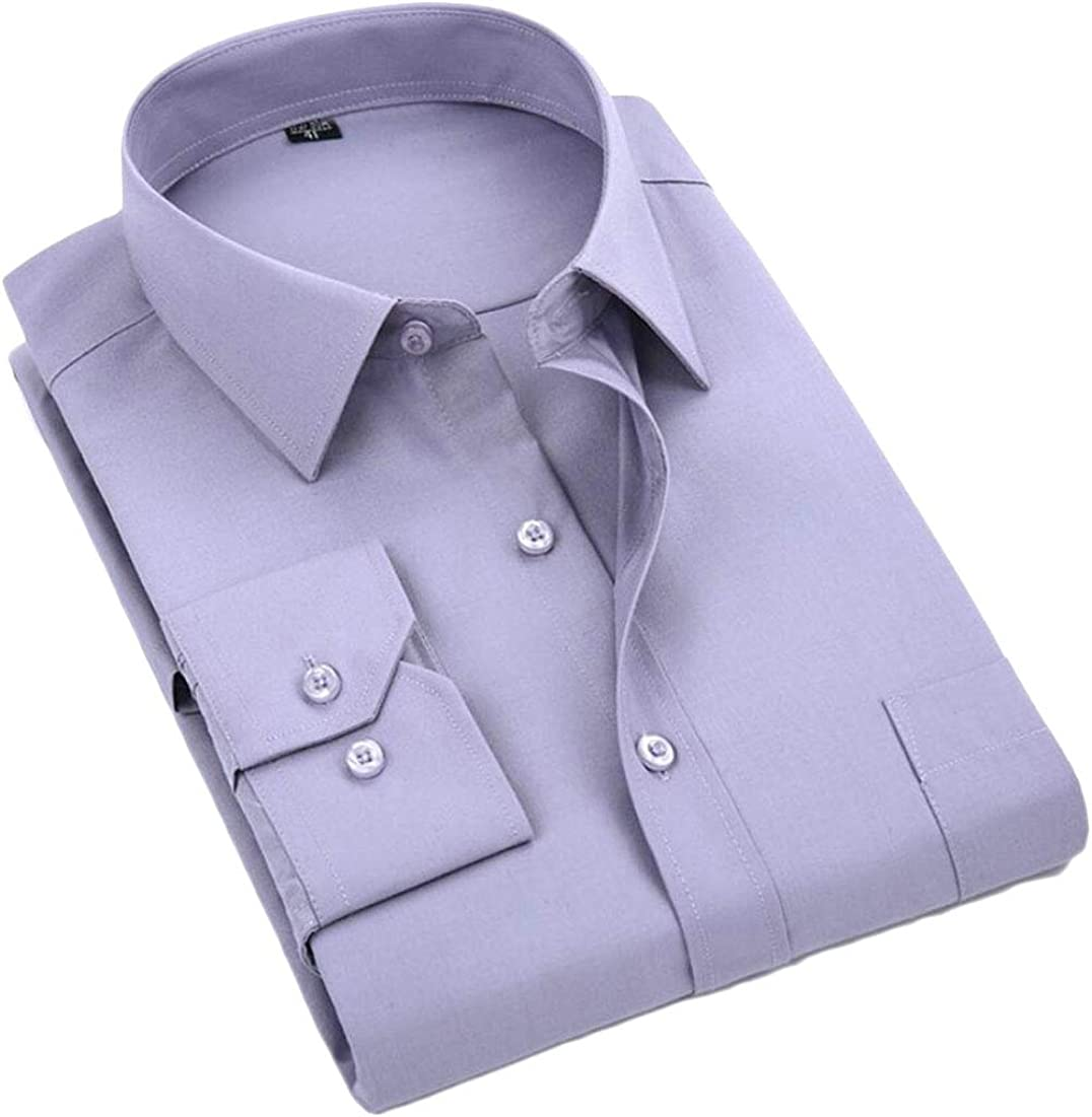Gocgt Mens Long Sleeve Casual Solid Cotton Fashion Button Down Dress Shirt