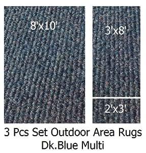 Amazon Com Indoor Outdoor Cadet Blue 3 Piece Set Patio