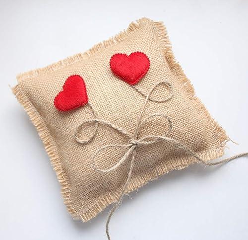Cojín porta alianzas de yute con corazones: Amazon.es: Handmade