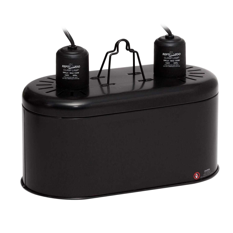 REPTIZOO Dual Lamp Fixture for Reptile,Dual Lamp Cap Combo Integration Design