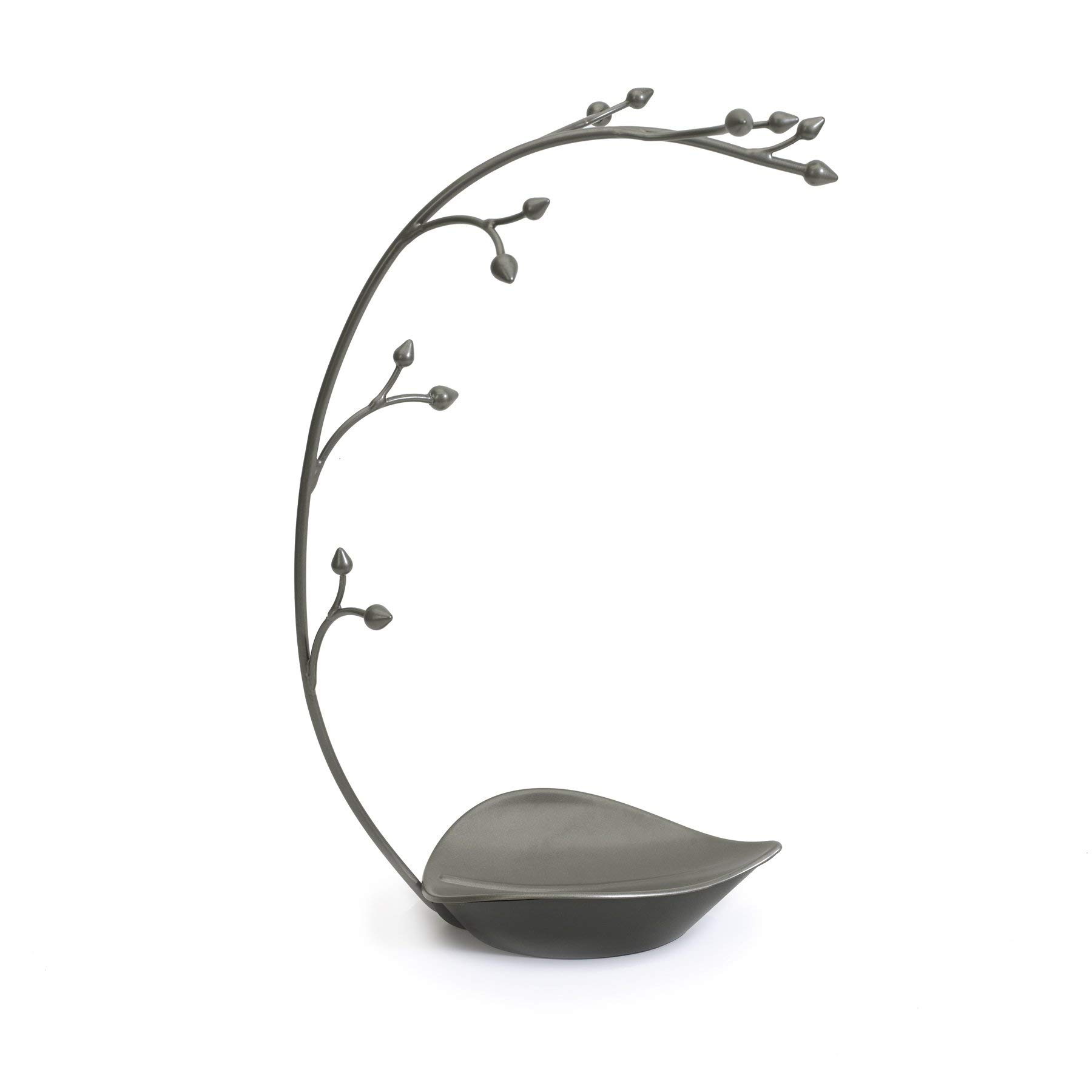Umbra Orchid Jewelry Hanging Tree Stand - Multi-Functional Necklace Metal Holder Display Organizer Rack With a Ring Dish Tray - Great For Organization - Can Be Used As Decor, Dining Room Centerpiece by Umbra
