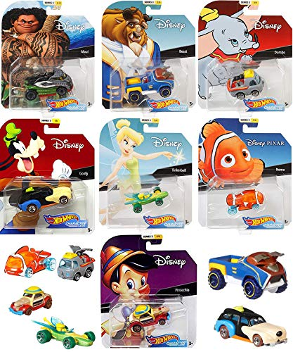 Magical Cartoon Character Cars Disney Friends Dumbo Flying Elephant Bundle Nemo Fish & TinkerBell Winged hot rod / Beauty Beast (Truck) / Maui from Moana off road car & Goofy ()