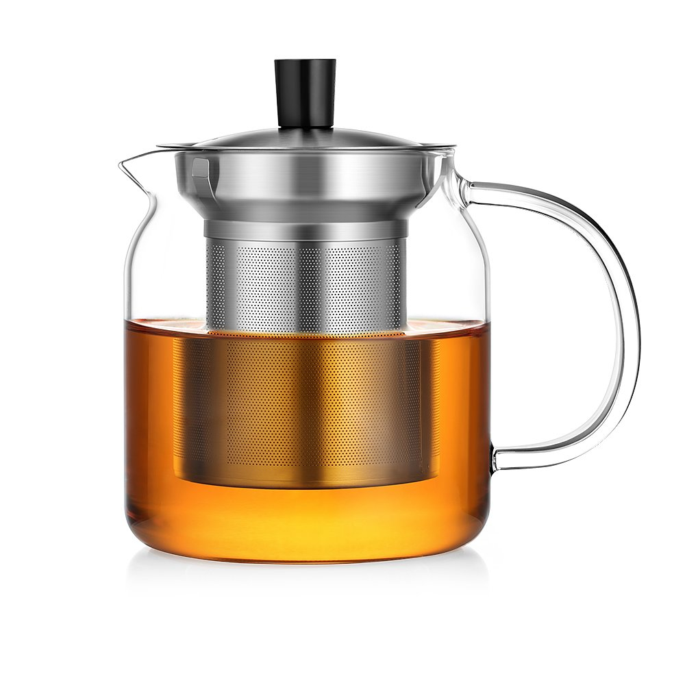 amazoncom  ecooe glass teapot with stainless steel infuser  - amazoncom  ecooe glass teapot with stainless steel infuser stovetop safe ml loose leaf tea pot teapots