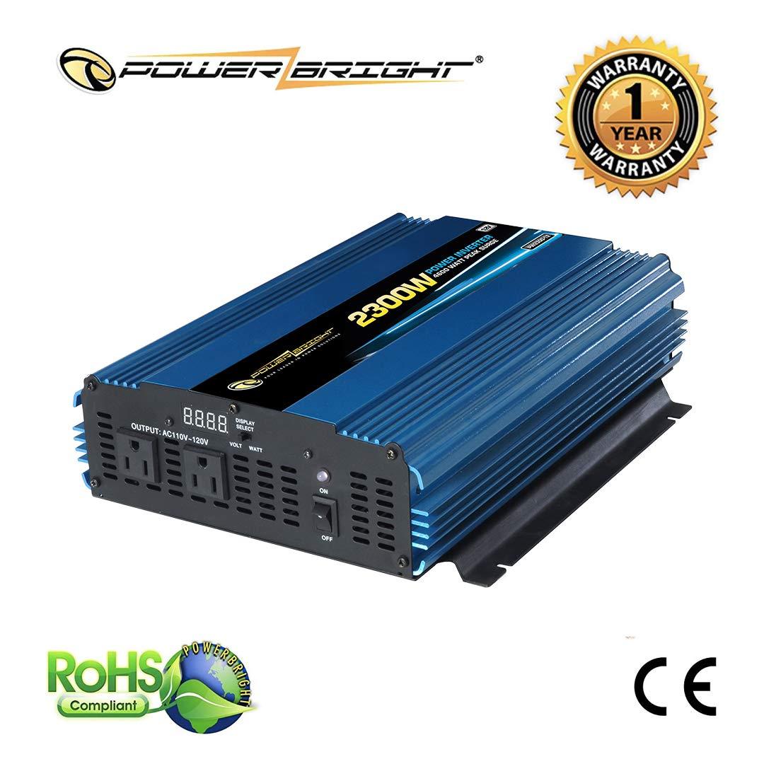 PowerBright PW2300-12 Power Inverter 2300 Watt 12 Volt DC to 110 Volt AC