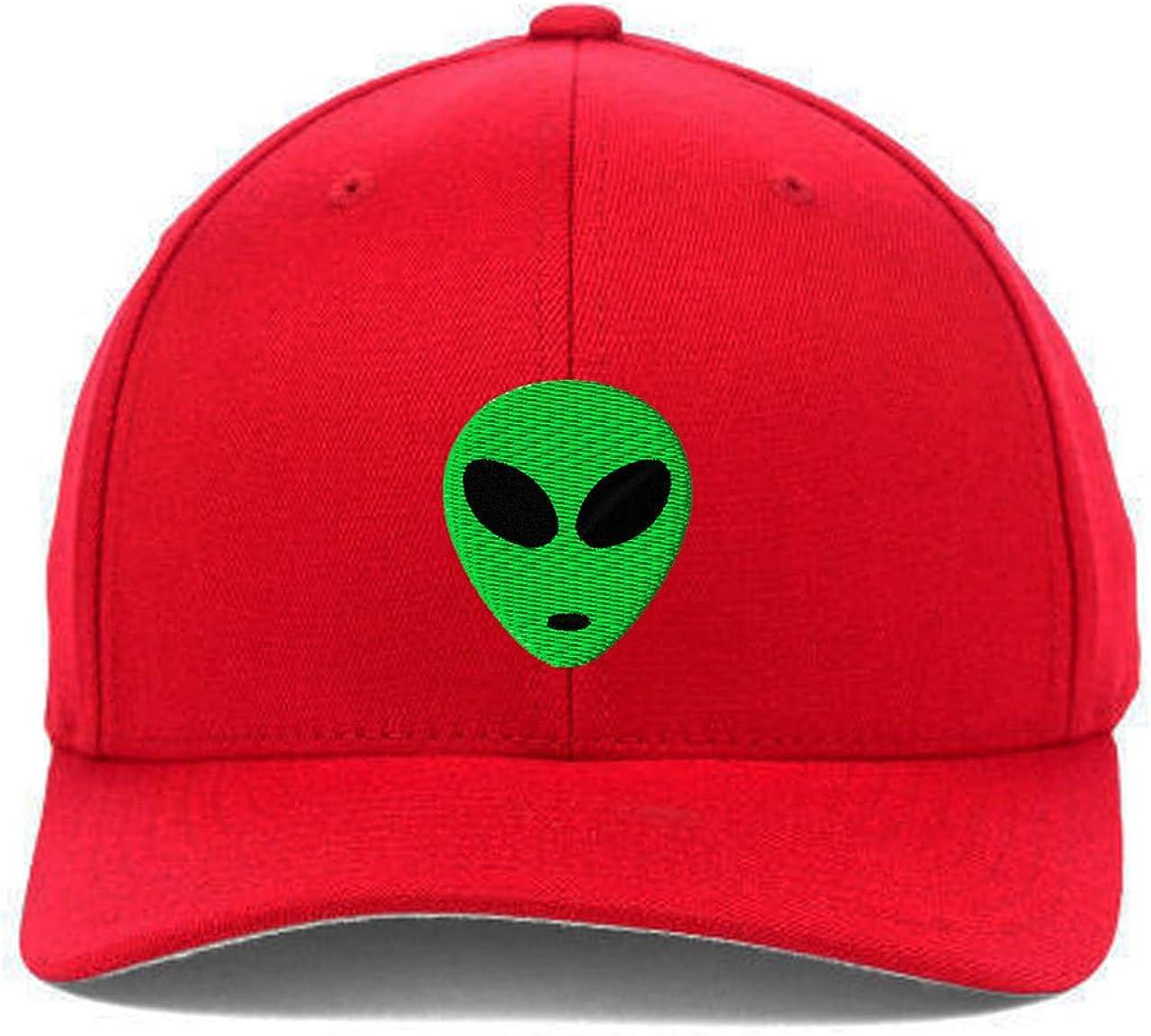 Green Alien Head Embroidered Flexfit Hats