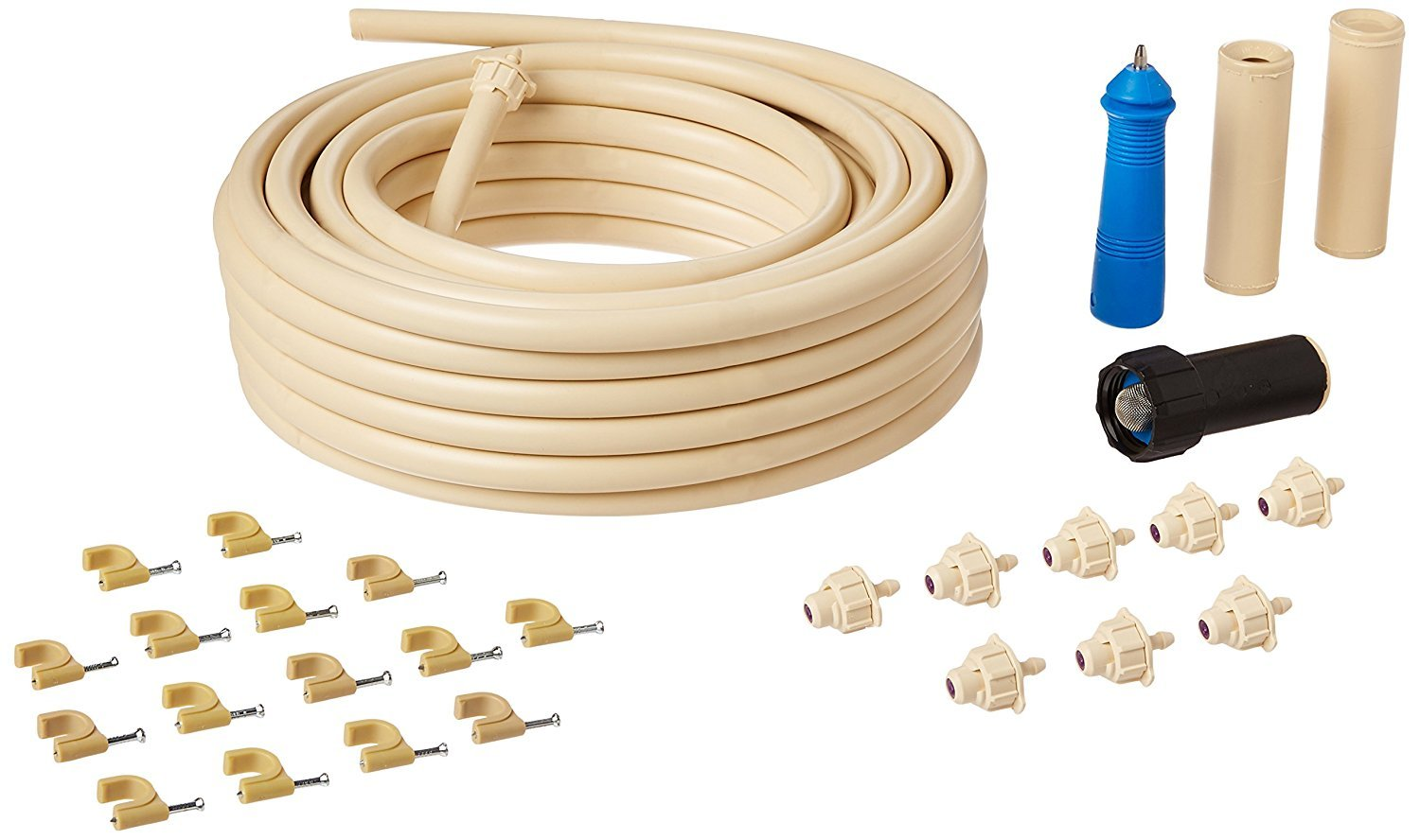Large Pet & Horse / Livestock Outdoor Evaporative Mist Cooling System 50' - 3/8'' tubing - Includes : (Hose Nozzle Adapter, Misting Nozzles, Punch Tool, Mounts & Fittings)