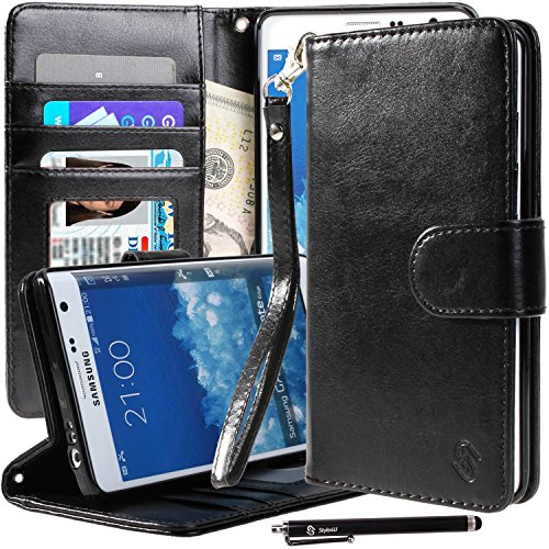 Galaxy Note Edge Case, Note Edge Case, Style4U Premium PU Leather Stand Wallet Case with ID Credit Card / Cash Slots for Samsung Galaxy Note Edge+ 1 Stylus [Black]