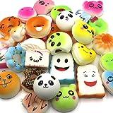 Karids 15 pcs squishies pack Jumbo Medium Mini Soft Squishy Cake/Panda/Bread/Buns Phone Straps Scented