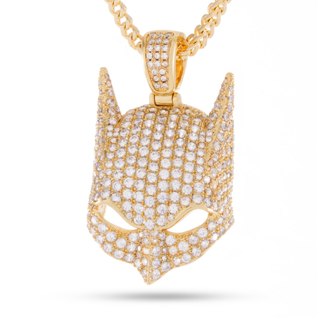 14K Gold Batman Cowl Necklace by King Ice