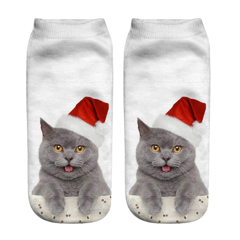 Yuxikong Girls 3D Funny Cute Cats Ankle Socks Novelty Cats Animals Low Cut Socks