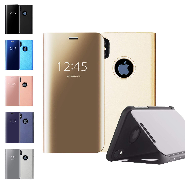 Coque Flip Folio Miroir Smart Clear View pour iPhone XR Kickstand Housse de Protection Miroir électrolytique pour Maquillage