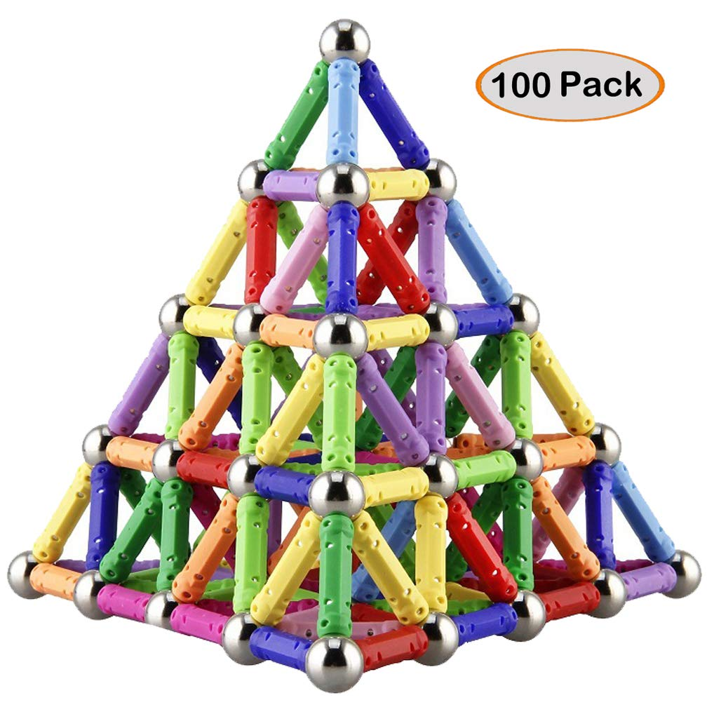 Syolee 100 Pieces Magnetic Building Blocks Magnet Sticks and Balls Educational Construction Stacking Toys for Adults and Children (Kids up 6 Years Old)