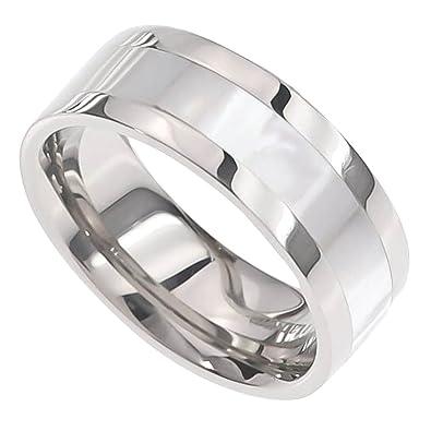 FlameReflection 8mm Men\'s Titanium Ring Wedding Band High Polish ...