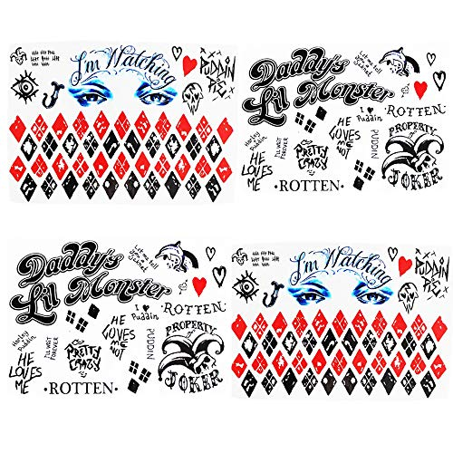 Halloween Temporary Tattoos Suicide Squad Costume Cosplay Harley Quinn Tattoos- Face,Waist& Leg Tats -4PC Tattoos Sheet -