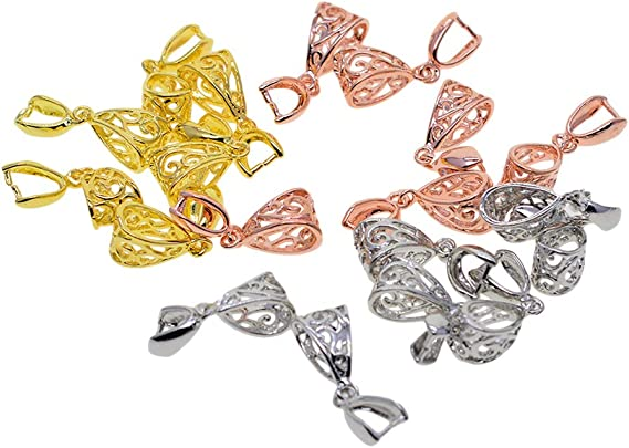 Rose Gold /& Platinum 3 Mixed Color Pinch Bails Clasp Connectors for Pendant Making 1.02 x 0.35 x 0.28 Exquisite Jewelry Findings Gold B Baosity 18Pcs