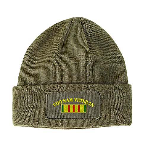 Speedy Pros Vietnam Veteran Flag Embroidered Unisex Adult Acrylic Patch Beanie Warm Hat - Olive Green, One Size