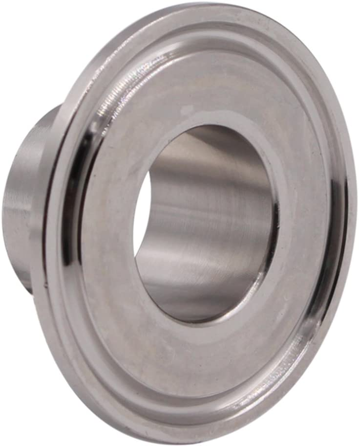 HONGLU Stainless Steel 304 Sanitary Fitting Long Weld Clamp Ferrule Fits Tri Clamp 1-1//2 Inch Tube Outer Diameter 2Pcs
