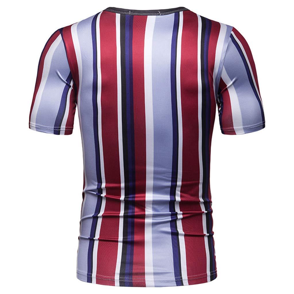 Easytoy Mens T-Shirt Fashion Striped T Shirts Tee Short Sleeve Slim Fitted Basic T-Shirt Tops
