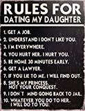 Rules for Dating My Daughter Decorative Metal Sign Retro Large 13 X 10 Inches Bar Pub Garage Man Cave