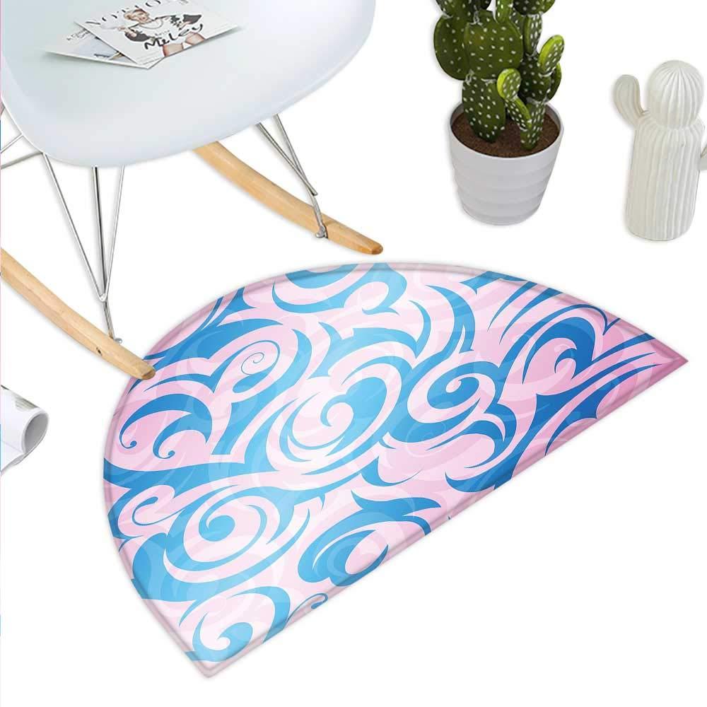 color02 H 31.5  xD 47.2  Navy and bluesh Semicircle Doormat Abstract Watercolors Artistic Fantasy Soft Nebula Universe Inspired Halfmoon doormats H 27.5  xD 41.3  bluee Pink Salmon