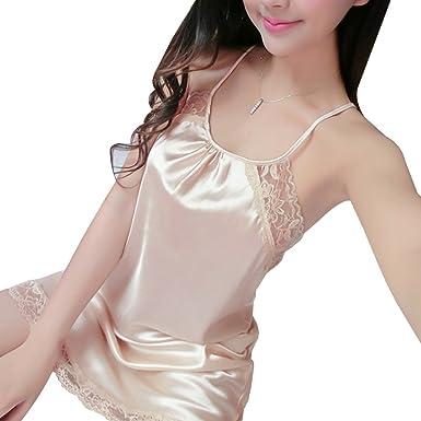 47dbf7b1308 Sattaj Spaghetti Strap Womens Silk Nightgowns Sleepwear Satin Night Dress  Babydoll Sexy Lingerie Nightdress Lace Sleepshirt