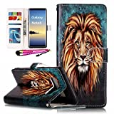 Galaxy Note8 Case, MerKuyom [Kickstand] Premium PU Leather Wallet Pouch [Card Holder] Folio Magnetic Flip Cover Skin Case For Samsung Galaxy Note 8 Note8, W/ Stylus (Brown Hair Cool Lion)
