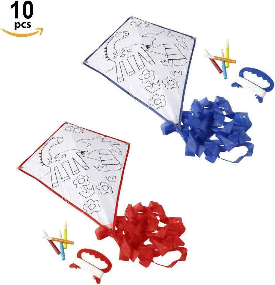 Fun Fan Line® – Set de 10 Cometas para Colorear con Bordes Azul y Rojo y diseño animalitos Fiestas de Cumpleaños Infantiles. ¡con Cuatro Rotuladores de Colores de Regalo! (10 Unidades)