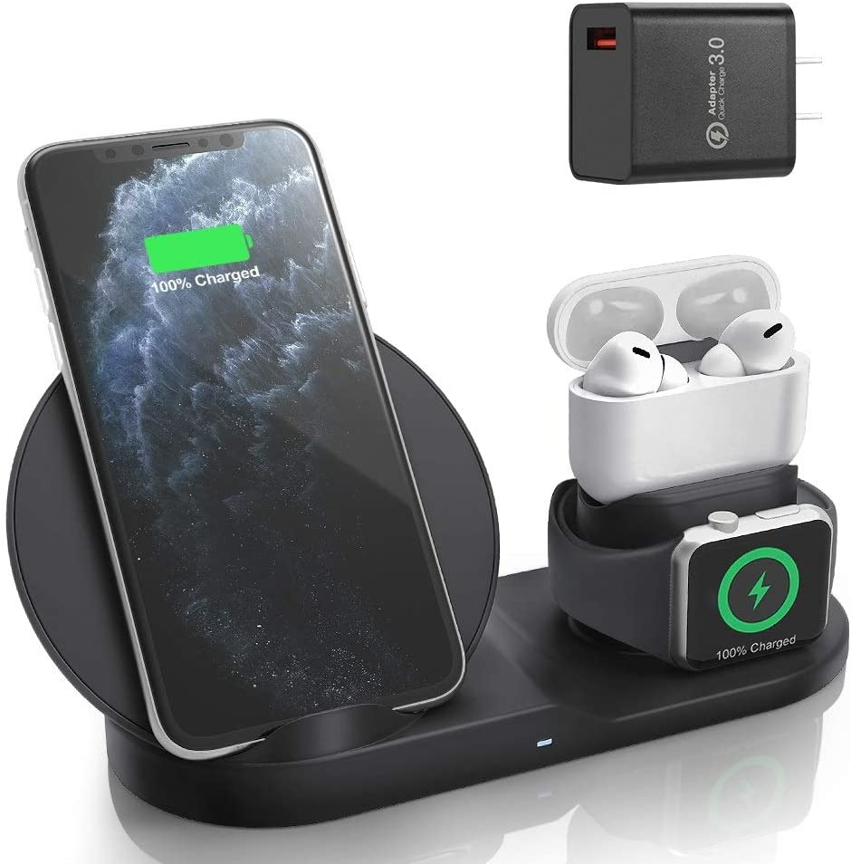 Wireless Charger for AirPods Pro with Adapter, Coobetter 3 in 1 Wireless Charging Station,Wireless Charging Stand Watch Charger Compatible with iPhone 11/11 pro /11 Pro Max/Xs/XS Max/XR/X / 8 /8P