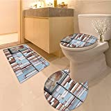 3 Piece Anti-slip mat setWooden Colored Rusty Planks with Old Ship Door Marine Themed Artwork Blue Brown and W Non Slip Bathroom Rugs