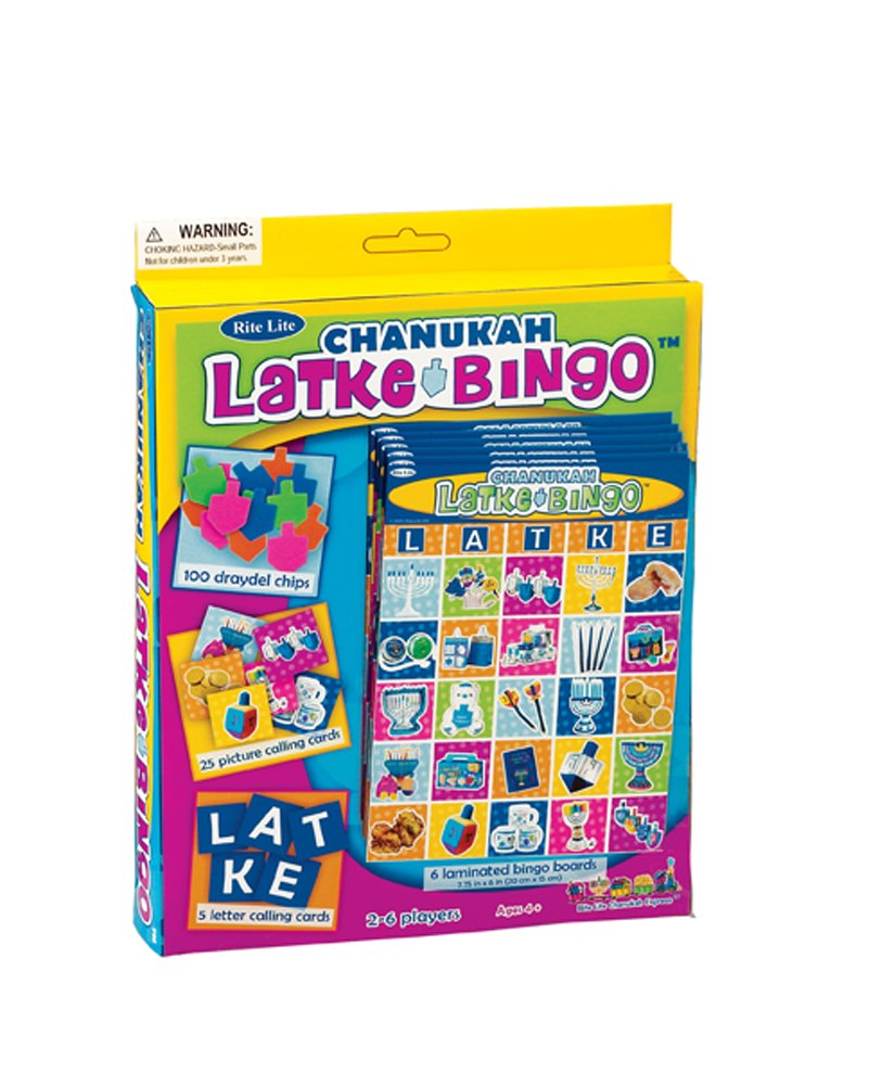 Rite-Lite Judaica Chanukah Latke Bingo Game for 6.  Ages 4 and up! by Rite -Lite Judaica