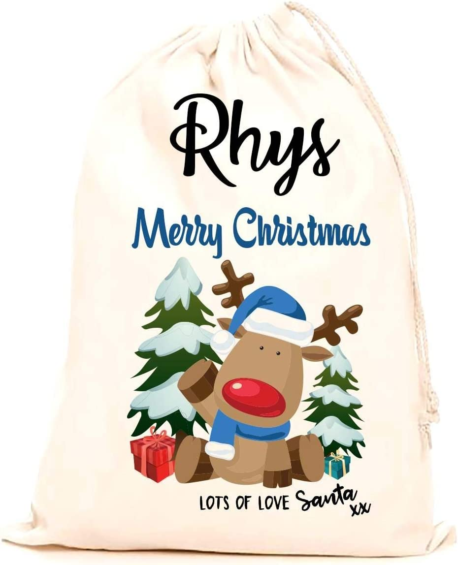stocking printed with a blue reindeer making it the perfect keepsake xmas gift//present. Children 100/% Cotton Large Treat Me Suite Rhys personalised name Christmas santa sack Kids 75x50cm