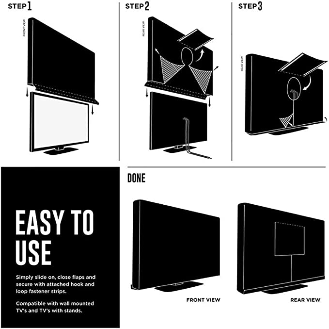 MJY Muebles Cubierta de polvo a prueba de agua Cubierta de TV al aire libre, tela Oxford impermeable 600D, Protector universal resistente a la intemperie Lcd, Led, Televisores de plasma, Bolsillo de: