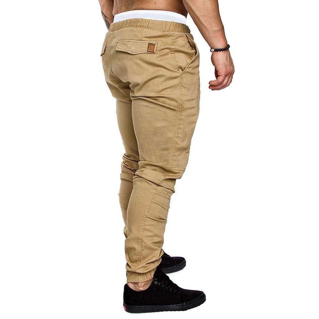 SOMESUN Uomo Chino Casual Pantaloni Business Slim Fit Pantaloni Sportivi Pantaloni Uomo Lunghi Cargo con Coulisse Tasche Laterali Trousers della di Sport Pants Elastici Casual Maschi