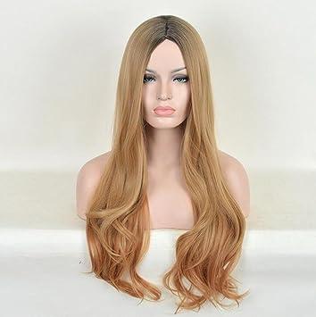 Pelucas onduladas Ombre - pelucas largas naturales, mullidas y de moda para las mujeres,