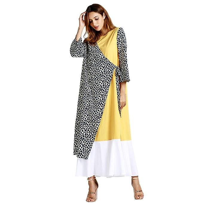 Vestido Largo Invierno Mujer Leopardo, Moda Musulmana Estampado Leopardo Fiesta de Manga Larga