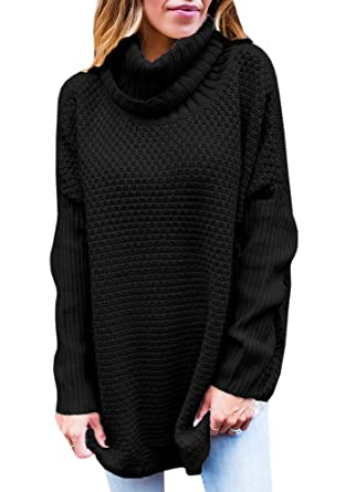 6a8ca438aa YOMISOY Womens Oversized Sweaters Cowl Neck Casual Cable Knit Loose Long  Sleeve Solid Pullovers Tunic Tops