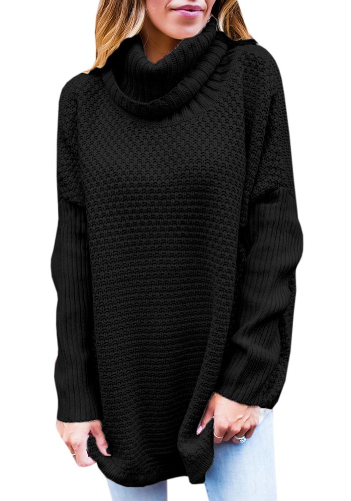 Valphsio Women Solid Round Neck Oversized Turtleneck Full Sleeve Knitted Sweater Pullover